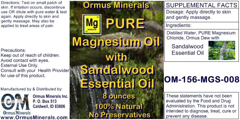 Ormus Minerals Pure Magnesium Oil with Sandalwood Essential Oil 8 oz